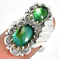 925 sterling silver 8.42cts natural blue labradorite oval ring size 7.5 r77800