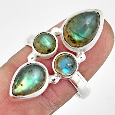 925 sterling silver 7.78cts natural blue labradorite pear ring size 8.5 r21189
