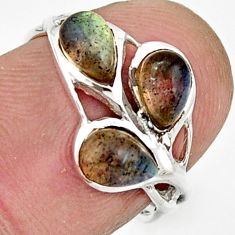 925 sterling silver 3.23cts natural blue labradorite pear ring size 5.5 r25878
