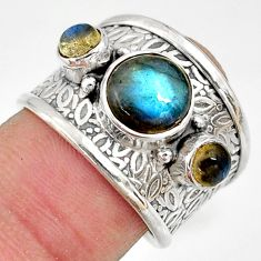 925 sterling silver 5.43cts natural blue labradorite ring jewelry size 7 r37933