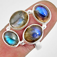 925 sterling silver 9.84cts natural blue labradorite ring jewelry size 8 r21147