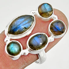925 sterling silver 9.44cts natural blue labradorite ring jewelry size 8 r21164