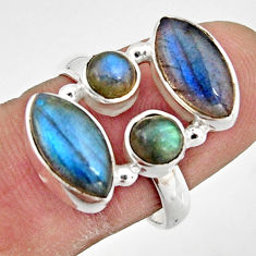 925 sterling silver 9.63cts natural blue labradorite ring jewelry size 8 r21195