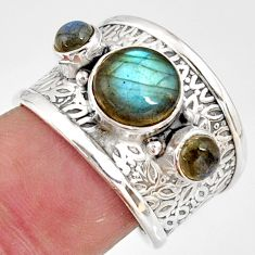 925 sterling silver 3.92cts natural blue labradorite ring jewelry size 8 r38398