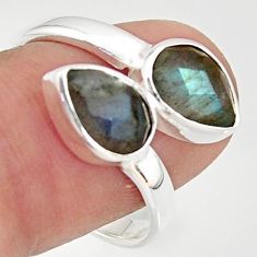 925 sterling silver 4.68cts natural blue labradorite ring jewelry size 9 r37958