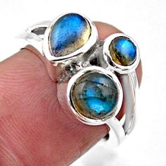 925 sterling silver 3.69cts natural blue labradorite ring size 6.5 r54520