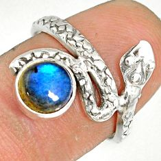 925 sterling silver 2.53cts natural blue labradorite snake ring size 6.5 r78655