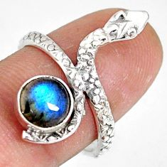 925 sterling silver 2.90cts natural blue labradorite snake ring size 7.5 r78677