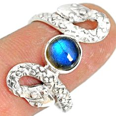 925 sterling silver 2.56cts natural blue labradorite snake ring size 8.5 r78734