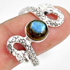 925 sterling silver 3.14cts natural blue labradorite snake ring size 10 d46260