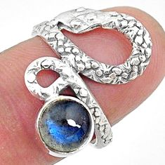925 sterling silver 2.44cts natural blue labradorite snake ring size 6 t11100