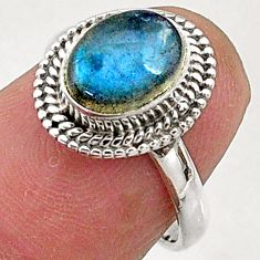 925 sterling silver 2.86cts natural blue labradorite solitaire ring size 6 t5099
