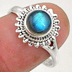 925 sterling silver 2.43cts natural blue labradorite solitaire ring size 8 t5092