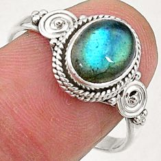 925 sterling silver 3.32cts natural blue labradorite solitaire ring size 9 t5096