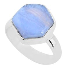 925 sterling silver 4.97cts natural blue lace agate solitaire ring size 6 t4120