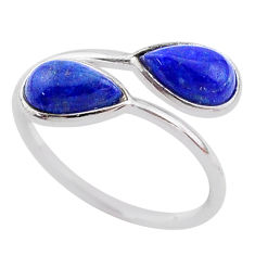 925 sterling silver 4.12cts natural blue lapis lazuli pear ring size 7 t1731