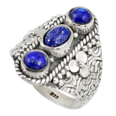 925 sterling silver 3.91cts natural blue lapis lazuli ring jewelry size 7 r38015