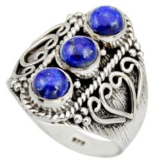 925 sterling silver 2.54cts natural blue lapis lazuli ring jewelry size 8 r26826