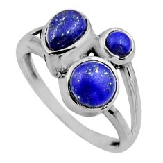925 sterling silver 3.93cts natural blue lapis lazuli ring jewelry size 8 r54512
