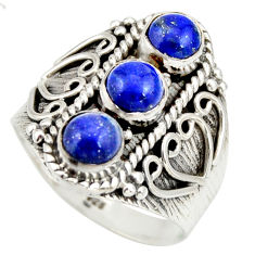 925 sterling silver 2.47cts natural blue lapis lazuli ring size 8.5 r26829