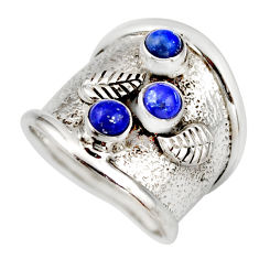 925 sterling silver 1.50cts natural blue lapis lazuli round ring size 6.5 d45933