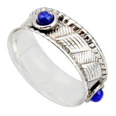 925 sterling silver 0.79cts natural blue lapis lazuli round ring size 7.5 d46514