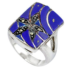 925 sterling silver natural blue lapis marcasite ring jewelry size 6 c16344