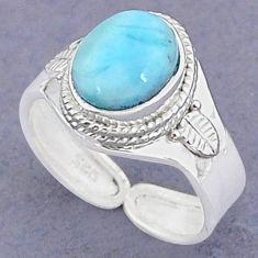 925 sterling silver 4.19cts natural blue larimar adjustable ring size 8 t8653