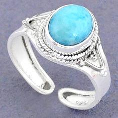 925 sterling silver 4.05cts natural blue larimar adjustable ring size 8 t8656