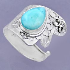 925 sterling silver 5.50cts natural blue larimar adjustable ring size 9 r54874