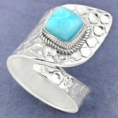 925 sterling silver 3.29cts natural blue larimar adjustable ring size 9 r63364