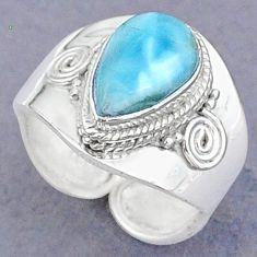 925 sterling silver 4.48cts natural blue larimar adjustable ring size 7.5 t8669