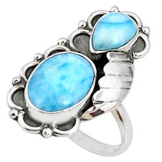 925 sterling silver 8.98cts natural blue larimar oval ring jewelry size 9 r67335