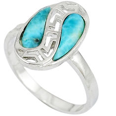 925 sterling silver natural blue larimar pear shape ring size 8 a33036 c15021