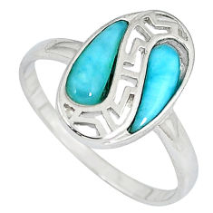 925 sterling silver natural blue larimar pear shape ring size 9 a33203 c15032