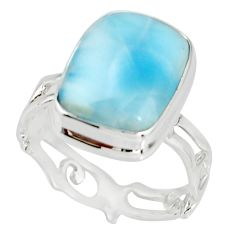 925 sterling silver 7.12cts natural blue larimar ring jewelry size 8 r19180