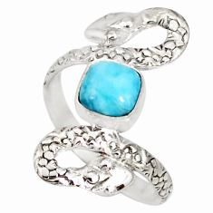 925 sterling silver 2.56cts natural blue larimar snake ring size 9 r78788