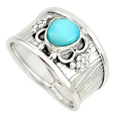925 sterling silver 1.40cts natural blue larimar solitaire ring size 7.5 r34653