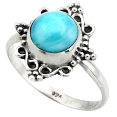 925 sterling silver 3.03cts natural blue larimar solitaire ring size 8.5 r41565