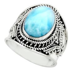 925 sterling silver 6.17cts natural blue larimar solitaire ring size 7.5 r52200