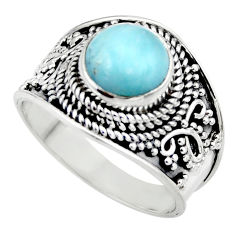 925 sterling silver 3.02cts natural blue larimar solitaire ring size 7.5 r52204
