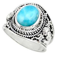 925 sterling silver 4.52cts natural blue larimar solitaire ring size 7.5 r52217