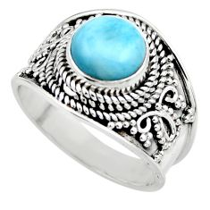 925 sterling silver 3.14cts natural blue larimar solitaire ring size 7.5 r52220