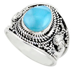 925 sterling silver 5.12cts natural blue larimar solitaire ring size 7.5 r52234