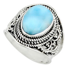 925 sterling silver 5.09cts natural blue larimar solitaire ring size 6.5 r52239