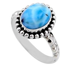 925 sterling silver 3.80cts natural blue larimar solitaire ring size 7.5 r54264