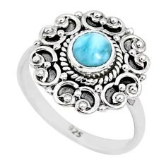 925 sterling silver 0.87cts natural blue larimar solitaire ring size 6.5 r93805