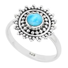 925 sterling silver 0.72cts natural blue larimar solitaire ring size 5 r93814