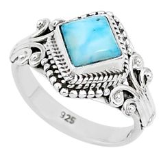 925 sterling silver 1.26cts natural blue larimar solitaire ring size 5 r93835