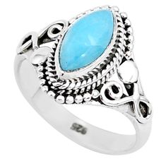 925 sterling silver 2.43cts natural blue larimar solitaire ring size 6 r93839